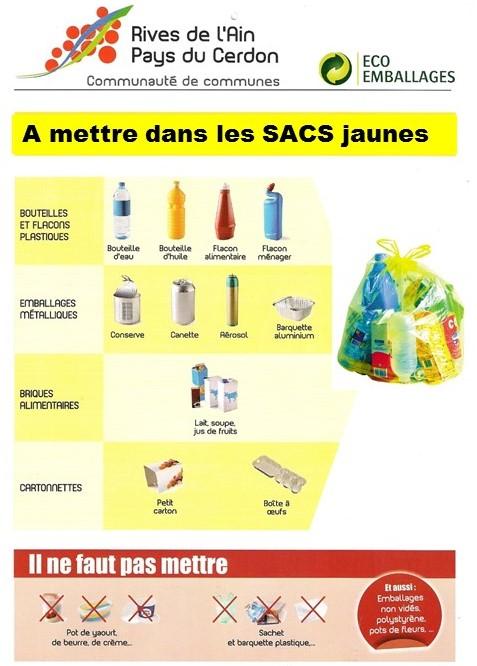 Consignes concernant les sacs jaunes en 2017